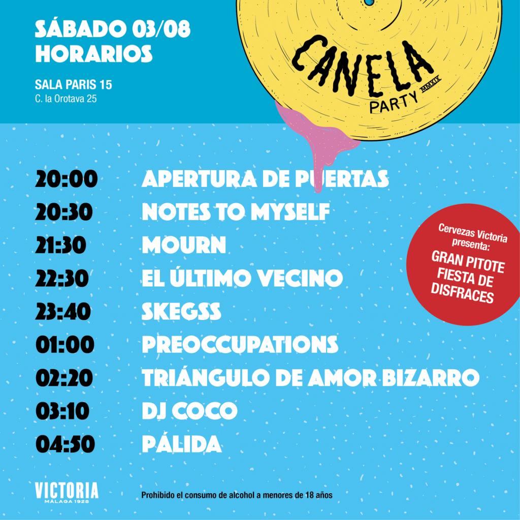 Horarios disponibles para el Canela Party 2019